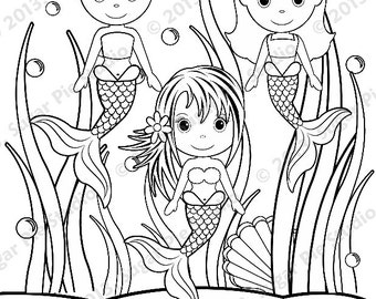 under the sea coloring pages. Personalized Printable Mermaid Under the sea Birthday Party Favor childrens  kids coloring page activity PDF or Etsy