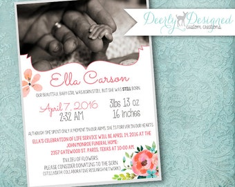 Baby Memorial Service; Remembering Child; Stillborn; Funeral; Announcement; Angel Baby; Infant Loss