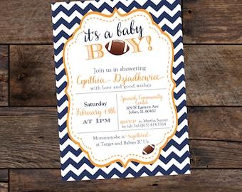 Boy Baby Shower Invitations - Football Themed Baby Shower - Digital Baby Shower Invitations