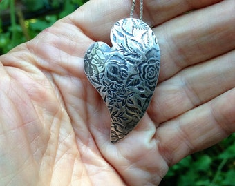 Puffed Heart Pendant, Sterling Silver, Hand Crafted