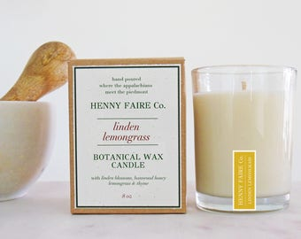linden lemongrass scented candle | lemongrass candle with linden blossom, honey & thyme | natural soy wax artisan fragrance spa candle