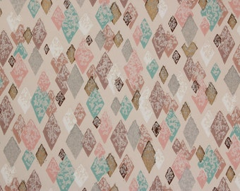 1950s Vintage Wallpaper Pink Brown Aqua and Gold Metallic Harlequin Mid Century by the Yard