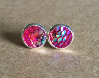 8mm Hot Pink Mermaid Scale Earrings, Mermaid Earrings, Dragon Scale Earrings