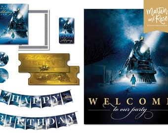 Polar Express Birthday Pack - Banner, Welcome Poster, Cupcake Toppers, Thank You Card, Favor Tag, Golden Ticket, Printable Party Decorations