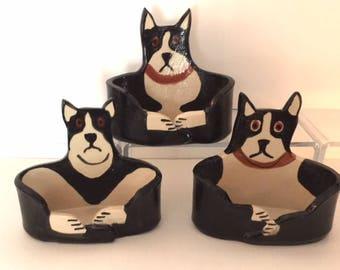 handmade by artist: Dog Lover Business card Holder or pencil ceramic hound dog whimsical canine office theme decor