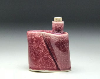 Personal flask, small flask, handmade flask, pottery flask, corked cork, moonshine bottle, ceramic flask, Dark red Glaze, Groomsmen gift