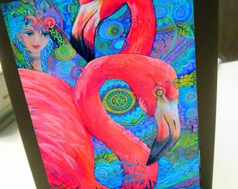 greeting card print of original art-flamingo mob #3 Zentangle spirit animal