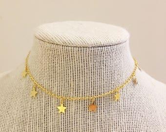 Gold Star Dangle Choker