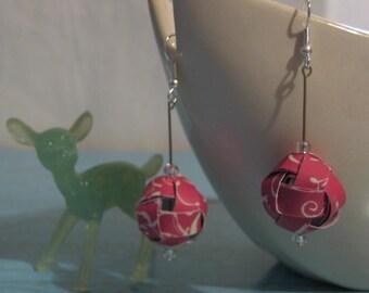 Raspberry and Cream OOAK Dangling Paper Ball Earrings