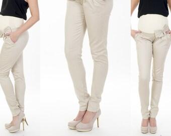 Maternity Pants tube trousers loop pants Beige