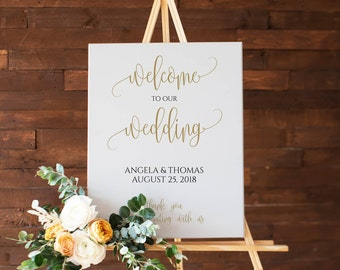Gold Wedding Welcome Sign, Large Wedding Welcome Sign, Wedding Sign, Welcome to the Wedding, Welcome Sign Wedding, Wedding Welcome, 0024