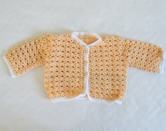 Baby crochet vest, shrimp color, baby waistcoat, baby jacket, handmade layette, baby fashion, birth gift, baby gift, baby shower