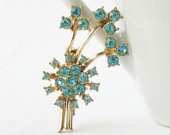 Vintage Rhinestone Brooch, Vintage Blue Brooch, Something Blue, Vintage CORO Brooch