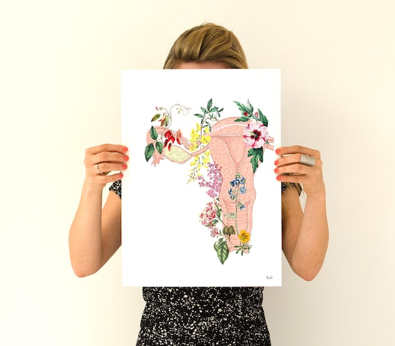 Flowery uterus collage, woman gift, feminist art, anatomy art, wall art, wall decor, poster, anatomy, feminist gift,Pregnancy gift SKA111WA3
