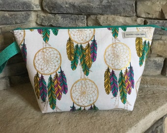 Wedge Zippered Project Bag with Strap-DREAM CATCHERS