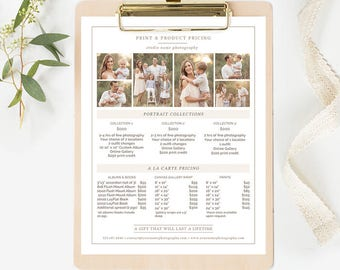Photography Pricing Template, Photography Price List Template, Photographer Pricing Template, Photography Pricing Guide Template Organic Set