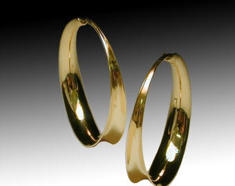 14K Yellow Gold Hoops, Shiny Anticlastic, Solid Gold hoops, Forged, Medium size.