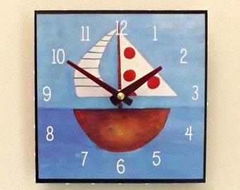 Sailboat Clock, Boy's Clock, Man's Clock, Sailing, Nautical, Sea, Ship, Boat, Father's Day Gift, Dad Gift,
