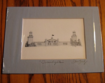 TWIN LIGHTS LIGHTHOUSE Pen and Ink portrait Unframed Mat- Hand Signed by Artist