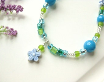 Girls Blue and Green Necklace with Flower Pendant, Sterling Silver Clasp, Medium, GNM 108