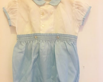 Vintage 18-24 Months baby boy blue white romper shorts traditional baby prince classic baby outfit
