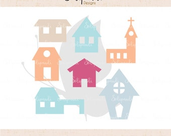 House / Town Collection with & without ribbon hole - SVG and DXF Cut Files - for Cricut, Silhouette, Die Cut Machines // scrapbooking //#170