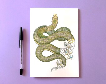 NOTEBOOK . Snake . Note . Animal . Flowers