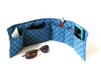 Purse organizer insert, blue cotton, handbag insert organizer, 5 pockets, organize, tote bag organizer, handbag organizer