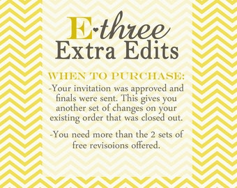 Extra Revisions on your existing order