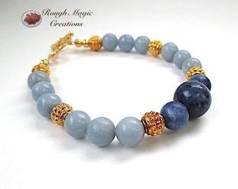 Gold Blue Gemstone Bracelet, Deep Dark Blue, Sky Blue, Sodalite Angelite Stone, Toggle Clasp, Gift for Women, Present for Her Birthday B225