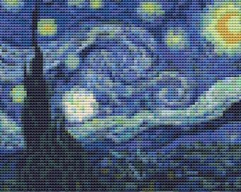 The Starry Night MINI Cross Stitch Kit, Landscape Embroidery Kit, Art Cross Stitch, Vincent van Gogh
