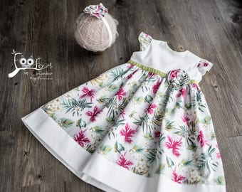 Colorful baby dress made of cotton with a flower in the waist with headband