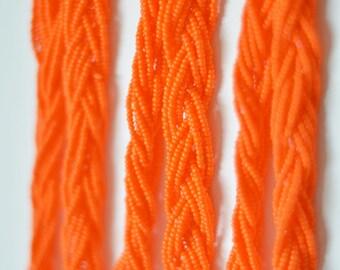 Bridesmaid necklace Orange necklace bridesmaids gifts braid necklace beaded necklace seed bead necklace summer wedding necklace multistrand