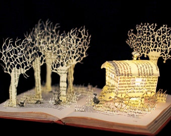 Danny Champion of the World Roald Dahl greeting birthday card from an altered book sculpture.