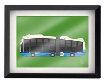"5""x7"" NYC MTA Bus illustration"