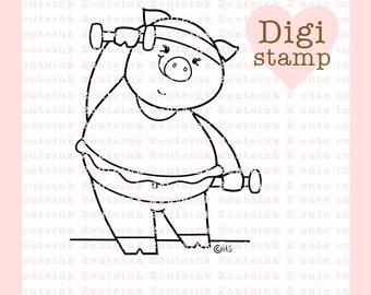 Exercise Time Digital Stamp - Pig Stamp - Digital Pig Stamp - Pig Art - Exercise Card Supply - Exercise Craft Supply