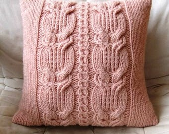 Decorative pillows. Knitted cushion. Pillows with patterns. Woolen knitted cushion.