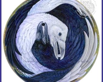Ravens Black and White Yin Yang Print