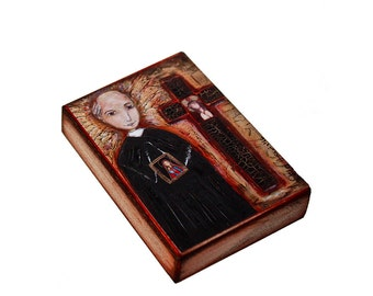 Saint Vincent Pallotti - ACEO Giclee print mounted on Wood (2.5 x 3.5 inches) Folk Art  by FLOR LARIOS