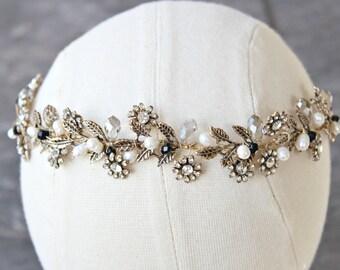 Bridal Headpiece Tiara - VERONIQUE, Swarovski Bridal Tiara, Crystal Wedding Headband, Gold Tiara, Wedding Tiara, Reign Headband