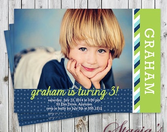 Stars & Stripes - Photo Birthday Invitation - Digital File or Printed