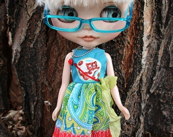 "Sleeveless Space Kitty Mismatched Tattered Dress Socks Necklace for Blythe 12"""