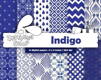 Indigo Digital Paper indigoDigital Paper Blue Digital Background blue damask digital paper