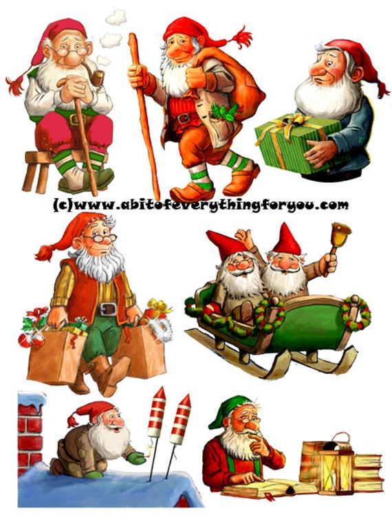 christmas gnomes die cuts clipart digital download craft cut outs sheet graphics images craft paper printables