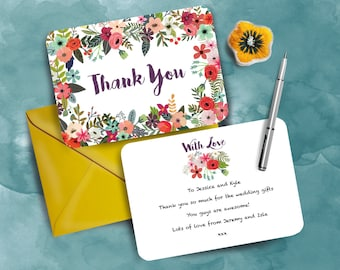 Summer Floral Wedding Thank You Cards Set