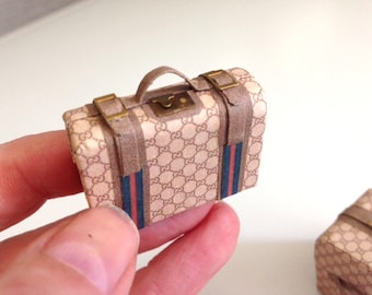 Dollhouse miniature trunk and suitcase – designer style