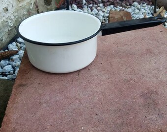 vintage  small black and white enamelware pot with handle
