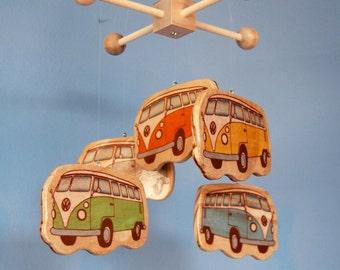 Baby Crib Mobile - Volkswagon Bus - Retro Volkswagon - Beach Decor