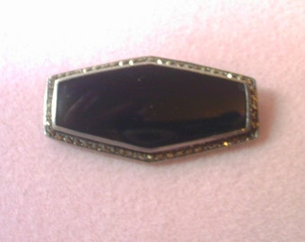 Black Onyx Jet Sterling Silver Bar Pin/Brooch with Marcasites