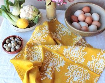 hand printed mustard yellow tea towel